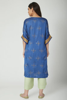 Cobalt Blue Block Printed & Embroidered Kurta Set by Nida Mahmood
