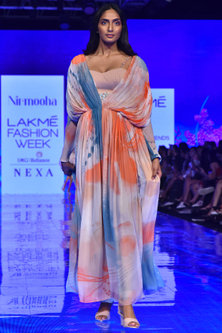 Crimson Red Printed Flared Gown by Nirmooha