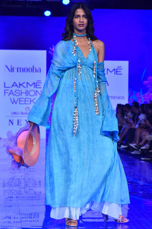 Sea Blue Gown With Trumpet Sleeves by Nirmooha