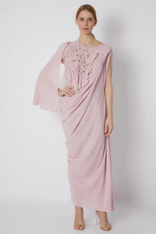 Blush Pink Indo-Western Gown by Naina Seth