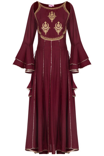 Maroon Embroidered Anarkali Set by Nysa & Shubhangi