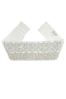 White Floral Embroidered Corset Belt by Our.Love