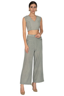 Artichoke Green Checkered Crop Top by Our.Love