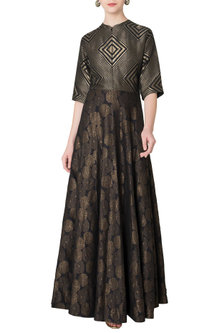 Black Handloom Woven Anarkali Gown by OSAA - By Adarsh