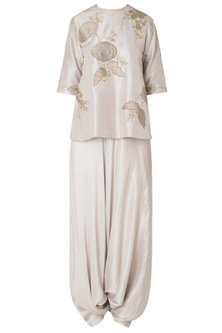 Oyster Applique Work Top with Pleated Dhoti Pants by OSAA - By Adarsh