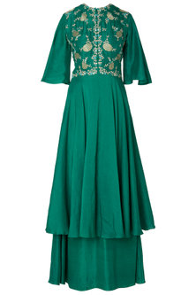 Emerald Green Embroidered Layered Anarkali Gown by OSAA - By Adarsh