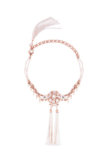Matte Rose Gold Plated Crystal & Pearl Choker Necklace by Outhouse