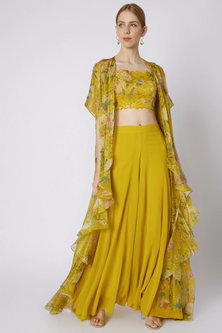 Mustard Printed Embroidered Crop Top With Jacket & Pants by Paulmi & Harsh