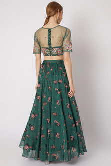Emerald Green Printed Embroidered Lehenga Set by Paulmi & Harsh
