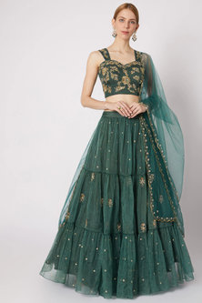 Emerald Green Embroidered & Layered Lehenga Set by Paulmi & Harsh