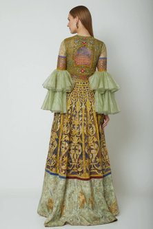 Multi Colored Embroidered & Printed Lehenga Style Dress by Poonam Dubey Designs