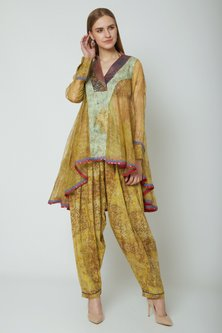 Mustard Yellow Embroidered & Printed Kurta With Dhoti Pants by Poonam Dubey Designs