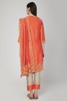 Orange Embroidered Kurta Set by Poonam Dubey Designs