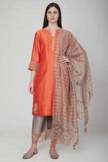 Orange & Beige Embroidered Kurta Set by Poonam Dubey Designs