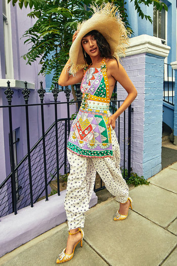 Multi Colored Hand Painted & Embellished Kurta With Pants by Papa Don't Preach by Shubhika