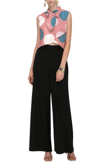 A Double Georgette Sleeveless Asymmetrical Crop Top by Platform 9