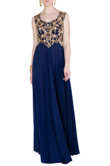 Navy Blue Embellished Gown by Peppermint Diva