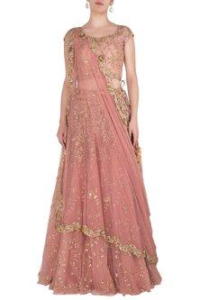 Rose Pink Embellished Lehenga Set by Peppermint Diva