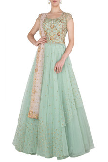 Ice Blue Embroidered Gown by Peppermint Diva
