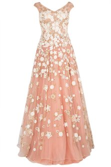 Pink Cut Work Heavy Gown by Peppermint Diva