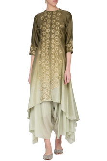 Olive green ombre embroidered kurta with pants by POULI