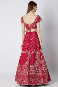 Hot Pink Raw Silk Lehenga Set by Pink Peacock Couture