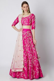 Fuchsia Embroidered Lehenga Set by Pink Peacock Couture