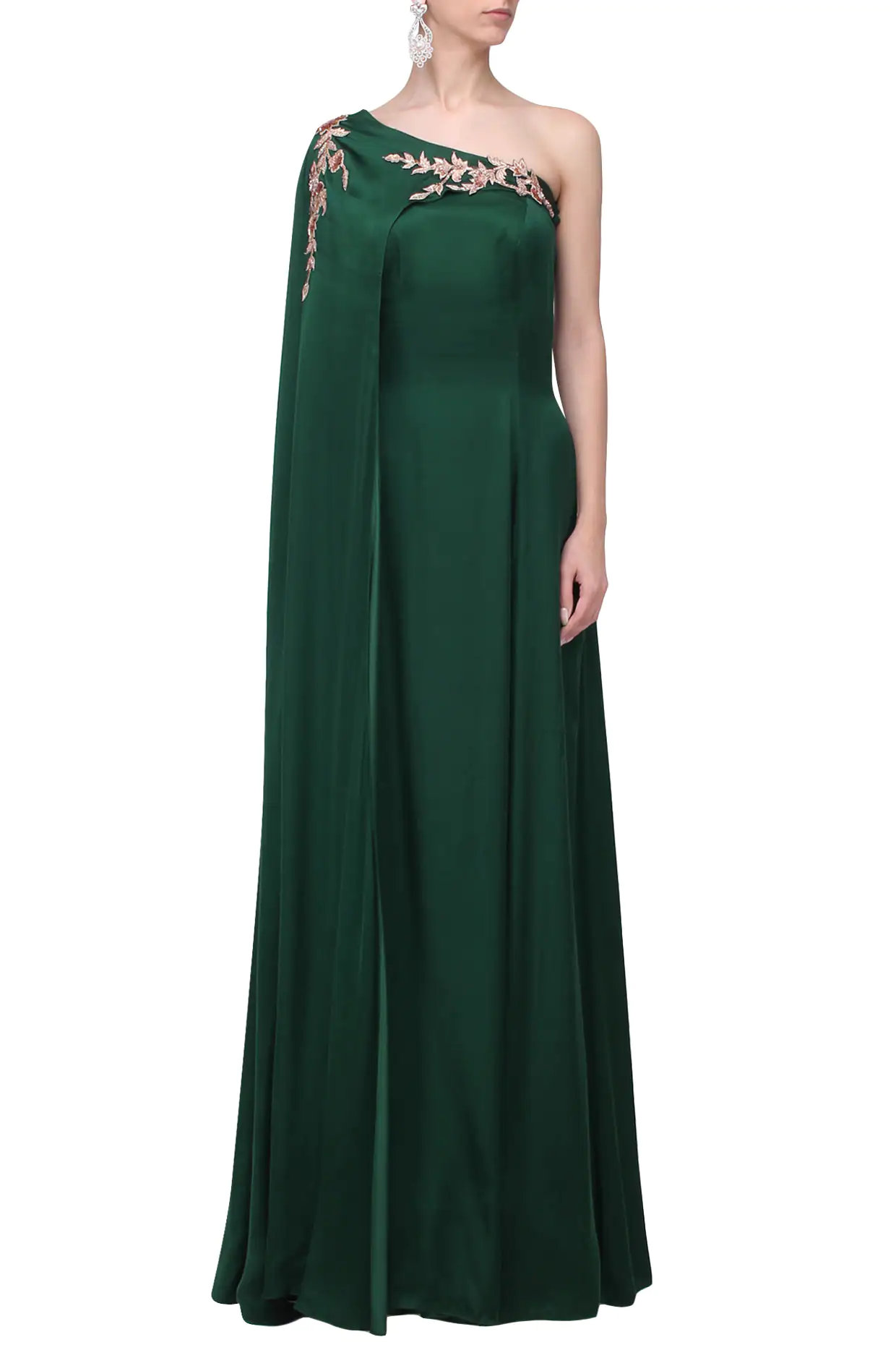 Green Embroidered Drape Gown
