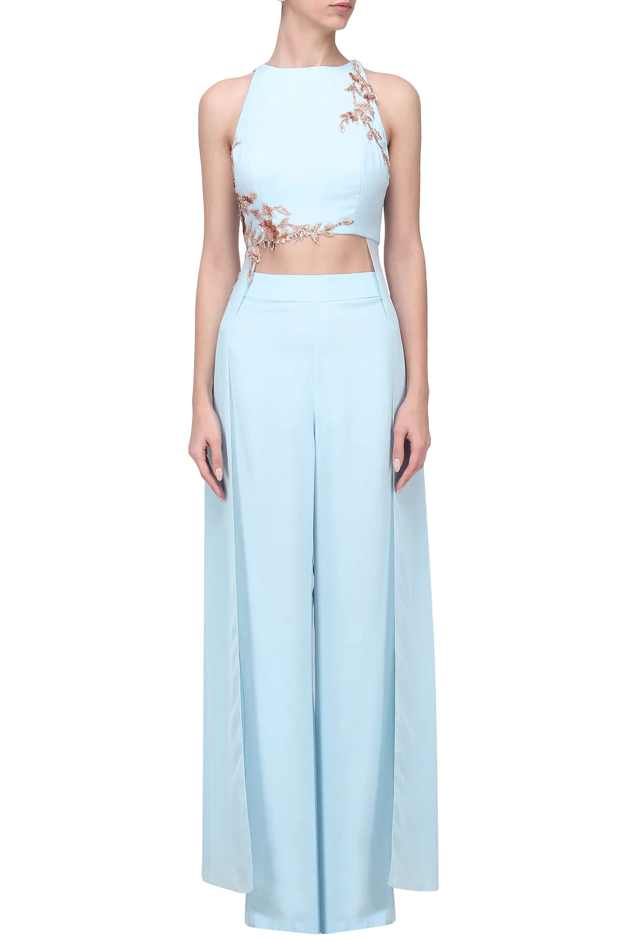 Powder Blue Embroidered Crop Top with Palazzo Pants Set
