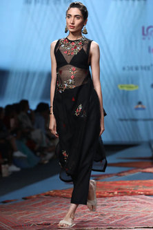 Black Embroidered Sheer Kurta With Blouse & Pants by Prama by Pratima Pandey
