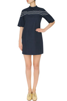 Ink Blue Striped Embroidered Anti-Fit Dress by The Pot Plant