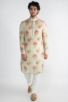 Dull Green Collared Long Kurta by Pranay Baidya Men
