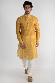 Golden Yellow Embroidered Long Kurta by Pranay Baidya Men