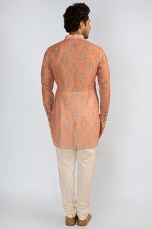 Peach Printed Short Kurta by Pranay Baidya Men