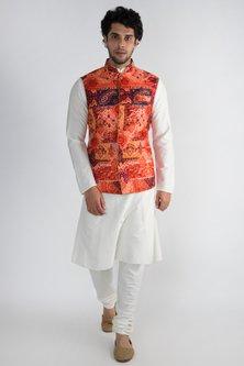 Red Printed Cotton Silk Nehru Jacket by Pranay Baidya Men