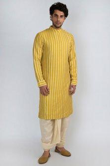 Golden Yellow Embroidered Kurta by Pranay Baidya Men