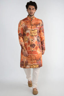 Orange Achkan Printed Kurta by Pranay Baidya Men