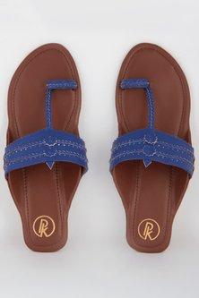 Blue Hand Braided Textured Kolhapuris by Preet Kaur