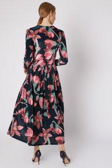 Black Printed Velvet Dress by Prints By Radhika