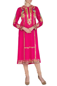 Magenta Pink Embroidered Tunic by Param Sahib