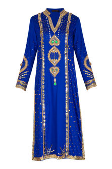 Blue Hand Embroidered Tunic by Param Sahib