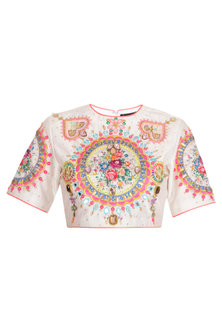 White Floral Hand Embroidered Crop Top by Param Sahib