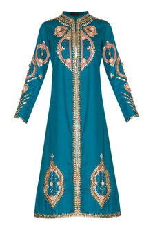 Teal Green Hand Embroidered Tunic by Param Sahib