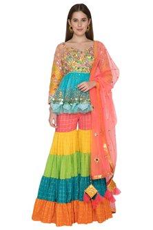 Multi Colored Embroidered Sharara Set by Param Sahib