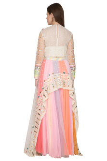Multi Colored Embroidered Crop Top With Ombre Drape Skirt by Param Sahib