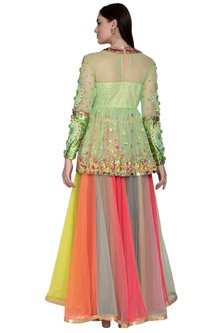 Multi Colored Ombre Skirt With Embroidered Peplum Blouse by Param Sahib