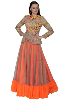 Multi Colored Embroidered Peplum Top With Gathered Skirt by Param Sahib