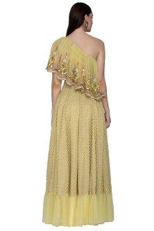 Yellow Asymmetric Blouse With Skirt by Param Sahib
