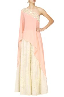 Peach Embroidered One Shoulder Cape with Skirt Set by Pre-Ri
