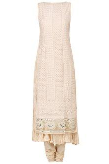 Fawn Macrame Embroidered Kurta with Churidaar Pants Set by Pre-Ri